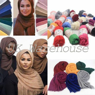 Crimp Frayed Edges Maxi Scarf Hijab Plain Crinkle Cotton Mix High Quality Shawal