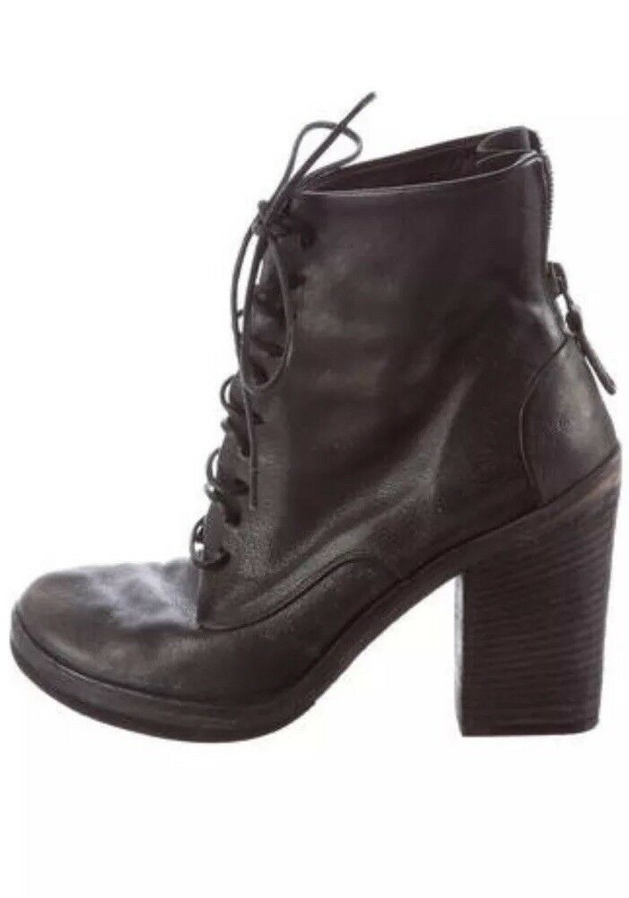 MARSELL Women Ankle Boots, Distressed Leather , Black, size 39.5(9.5US)