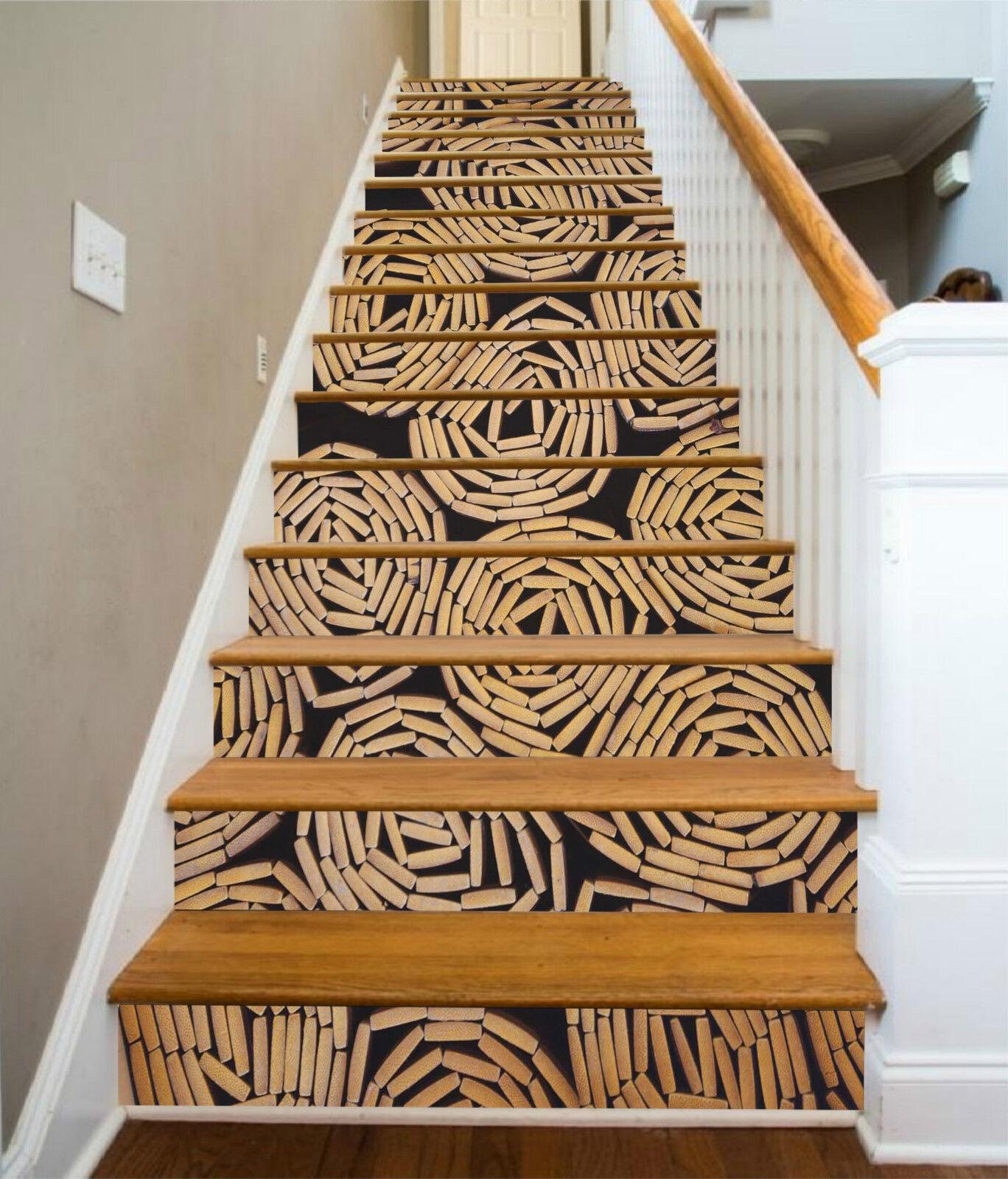 3D Bambus Malerei 8 Stair Risers Dekoration Fototapete Vinyl Aufkleber Tapete DE
