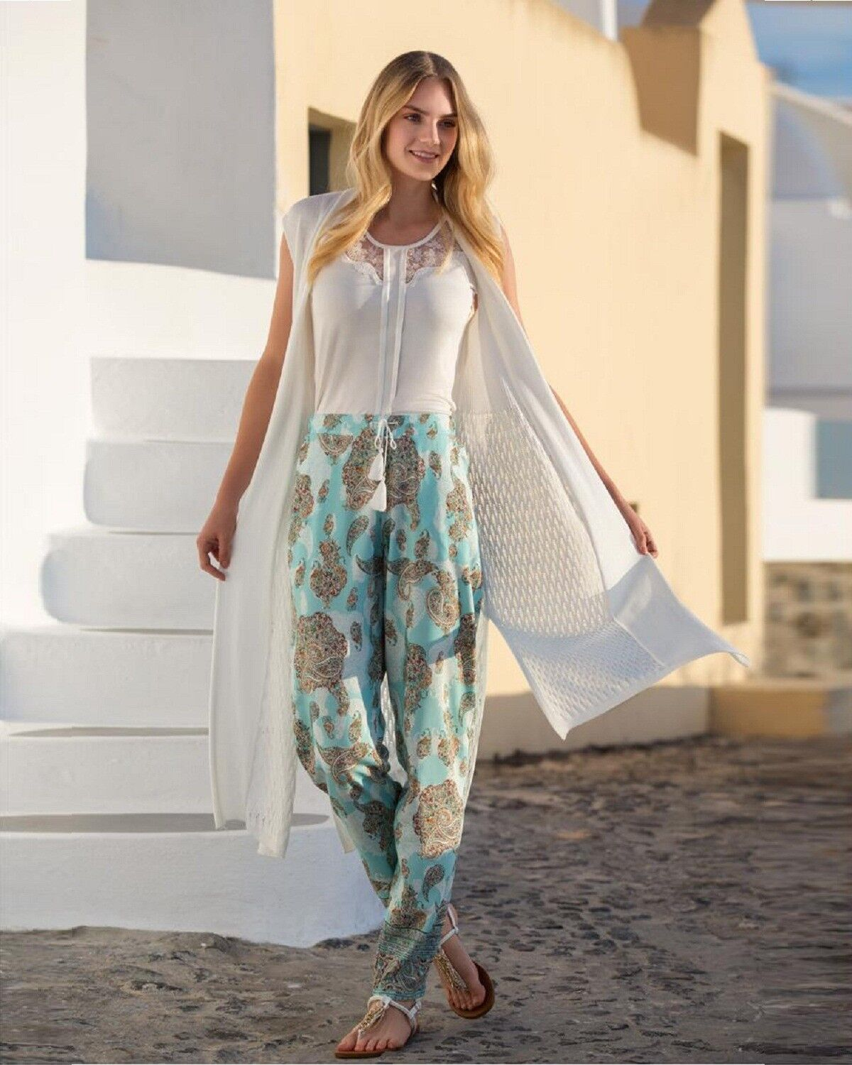 damen Trio of Top, Trousers and Cardigan Summer Wear  European Products
