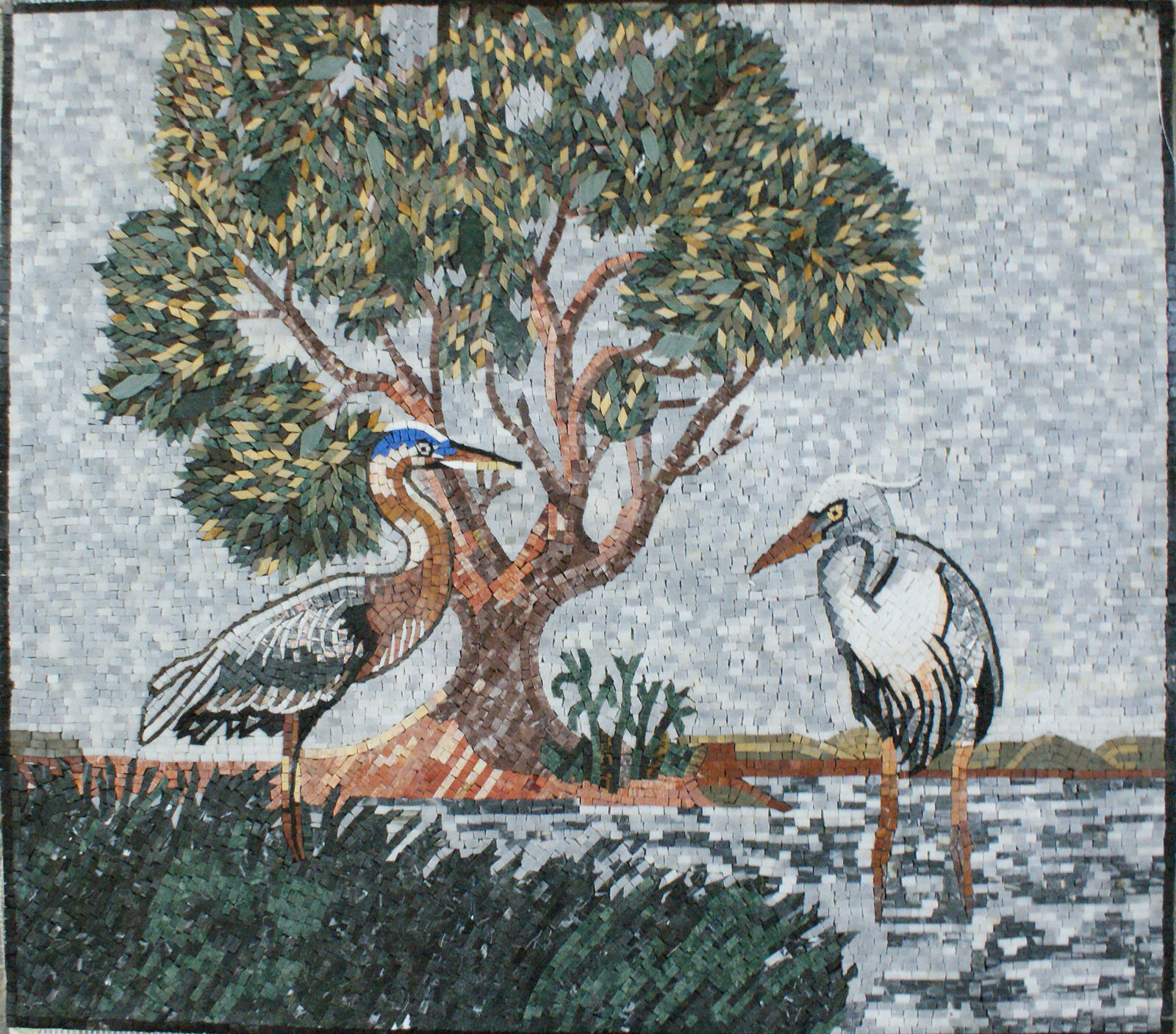 Art Tile Stone Forest Lake Two Weiß Herons Marble Mosaic AN946