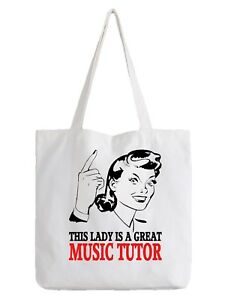 Details About Music Tutor Las Tote Bag Per Gift School Instrument Teacher Work Job Cool