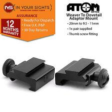 2 x Tessitore A Dovetail Adattatore Supporti/20mm - 11MM PER FUCILI O AIRSOFT