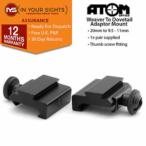 2-x-Weaver-to-dovetail-adapter-mounts-20mm-11mm-for-rifles-or-airsoft-rails