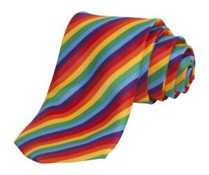 Rainbow-Striped-Thin-Style-Men-039-s-Hand-Made-Neck-Tie