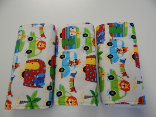 Burp Cloths Bright Zoo Camping Trip On White x 3 Toweling Backed GREAT GIFT IDEA