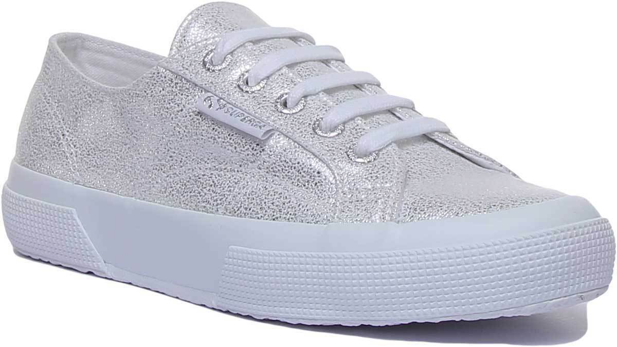 Superga 2750 Jersey Womens Casual Lace Up Trainers In White silver Size UK 3 - 8