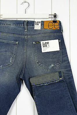 9f4a489f NEW LEE 101Z THE ORIGINAL ZIP FLY JEANS SELVAGE STRAIGHT LEG W33 L32 33x32
