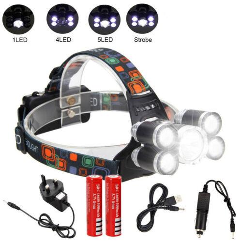 Headlight 90000 Lumen Headlamp XML 5*T6 USB LED Head Lamp Flashlight Torch 18650