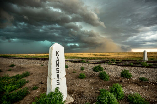 Kansas Photography Art Print - Picture of Railroad Sign and Storm at Border