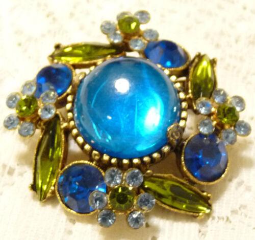 Stunning Vintage Gold Tone Blue & Green Rhinestone Flower Brooch/Pin W85*