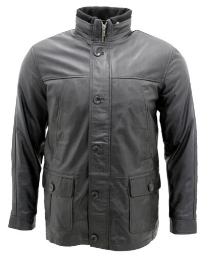 Classique 100 Brun Noir Homme Veste Chaude Cuir Militaire amp; OpqtxxnHWC