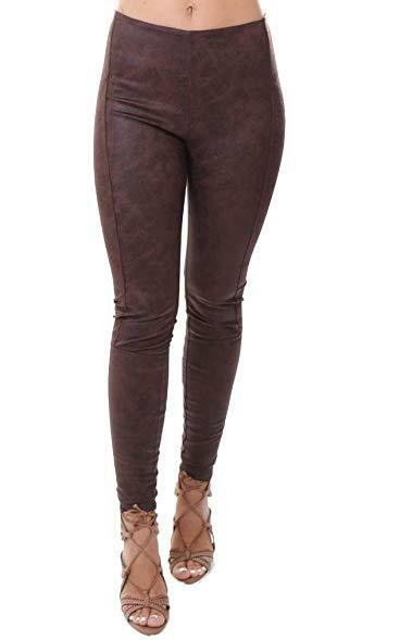109 NWT Lysse Jones Faux Leather Size L BourBrown Leggings A1