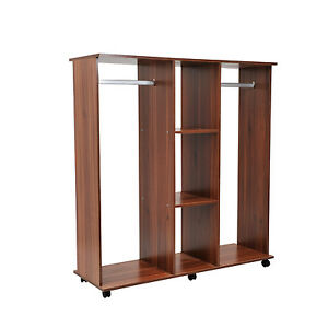 homcom mobiler kleiderschrank schrank garderobenschrank dielenschrank holz braun ebay. Black Bedroom Furniture Sets. Home Design Ideas