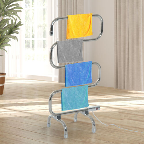 Plug In Electric Heated Freestanding Portable Towel  Clothes Rail Heater Dryer