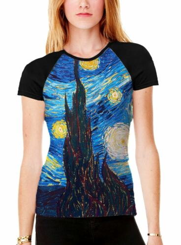 Van Gogh Starry Night Women/'s All Over Graphic Contrast Baseball T Shirt