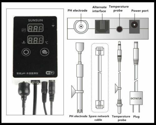Digital Aquarium PH Pen Tester WiFi Remote Measure PH Value Meter Thermometer