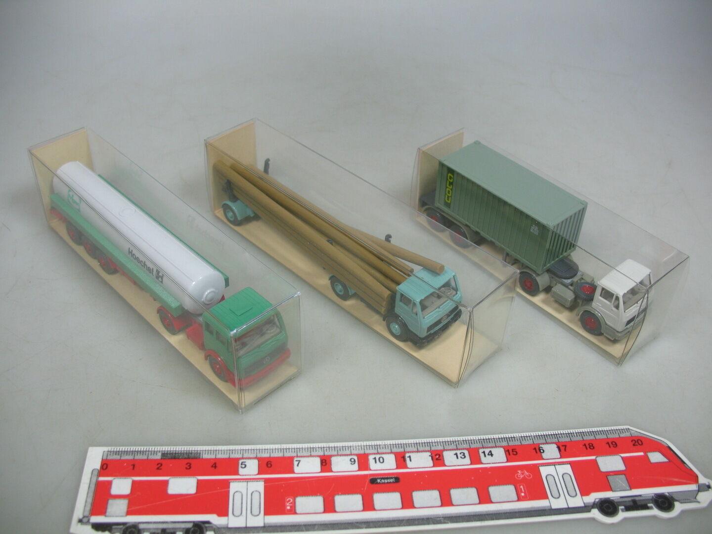 Ai85-0, 5  3x Wiking h0 camiones Mercedes-Benz MB MB MB  825 Hoechst +526 atracción +390, Neuw + embalaje original 7c4bc3