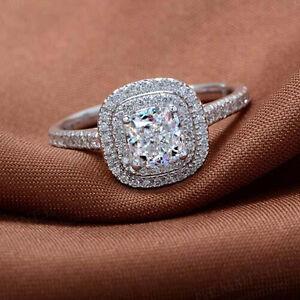 Sz-6-9-Women-039-s-925-Silver-Cushion-cut-White-Sapphire-CZ-Pave-Set-Wedding-Ring