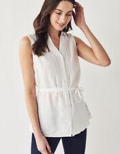 New Crew Clothing Womens Malbay Linen Sleeveless Shirt in White