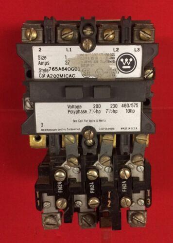 Westinghouse Motor Starter Size 1 ~ 765A84OG01 Cat A200MICAC~120V Coil ~ 27 Amps
