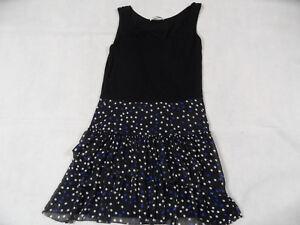 Details zu DKNY schönes Trägerkleid mit Stufen schwarz m. Punkten Gr. S? TOP BI1118
