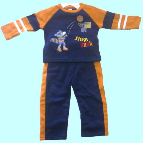 BABY BOYS JOG SUIT-EMBROIDERED-SLAM DUNK PRINT b.f BNWT NAVY BLUE WITH ORANGE