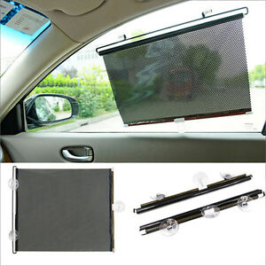 2 x car window sun shade roller blind screen protector large protection children ebay. Black Bedroom Furniture Sets. Home Design Ideas