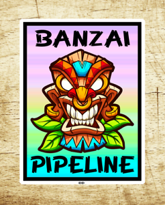 Surf-Banzai-Pipeline-Hawaii-2-75-034-X-3-75-034-Sticker-Decal-Oahu-Surfing-Tiki-North