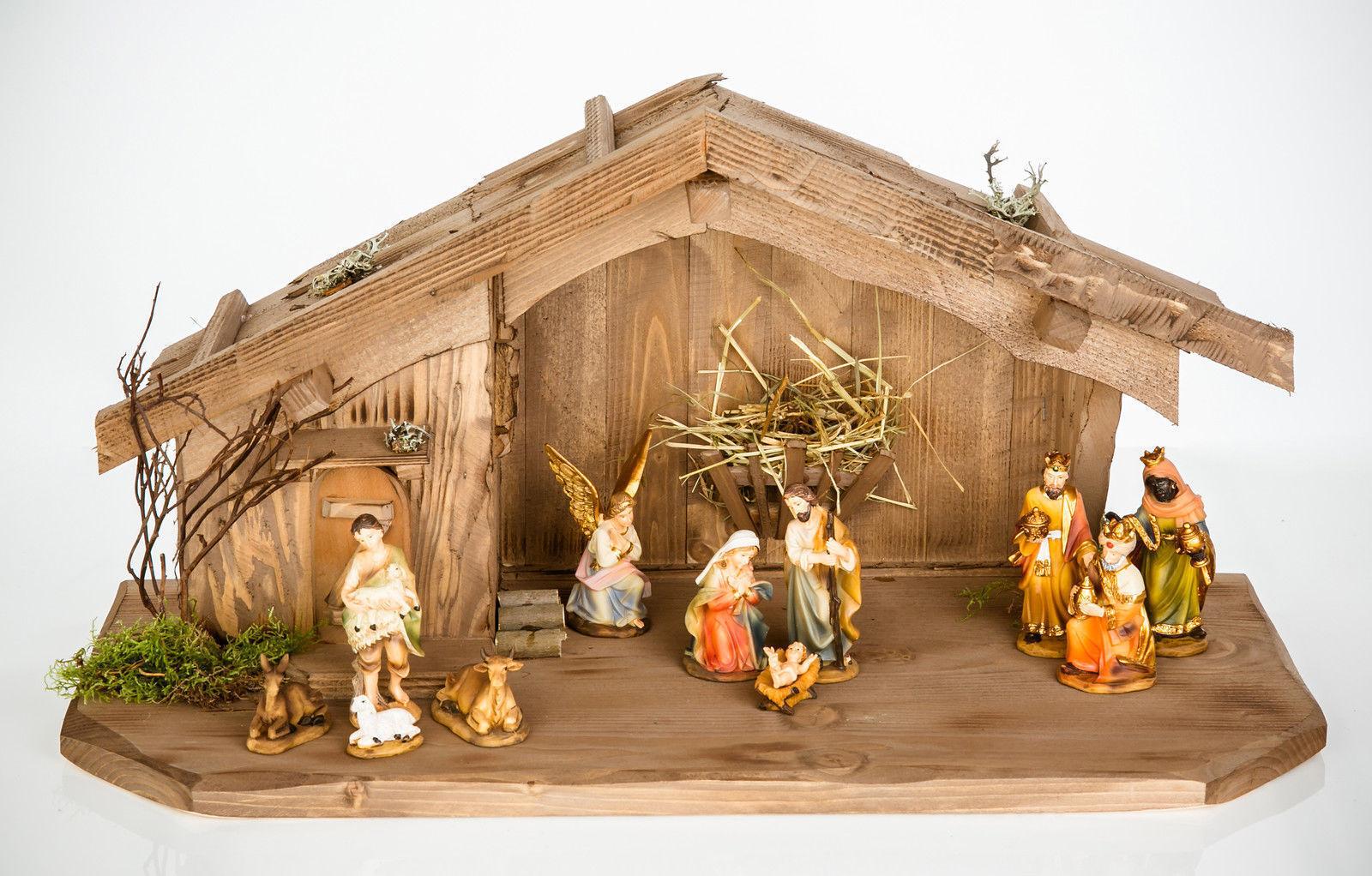 Weihnachtskrippe aus Holz mit mit mit Figuren Krippe W008+KF2 Weihnachtskrippen Stall 1074d1