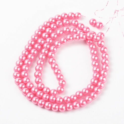10 Strd Glass Pearl Round Beads Mini Smooth Loose Spacer Beading Crafting 4~12mm