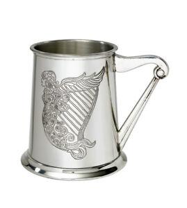 NEW-Personalised-1-Pint-Irish-Harp-Polished-Pewter-Tankard-Any-Message-Engraved