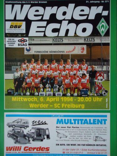 SC Freiburg Programm 1993//94 SV Werder Bremen