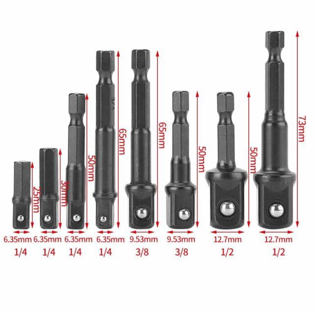 6tlg Stecknuss Adapter Steckschlüssel 3//8 1//2 1//4 Sechskant Magnet Nuss Bitsatz