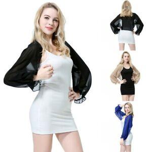Womens-Long-Sleeve-Bolero-Shrug-Coat-Thin-Chiffon-Cropped-Cardigan-Top-Beach-Top