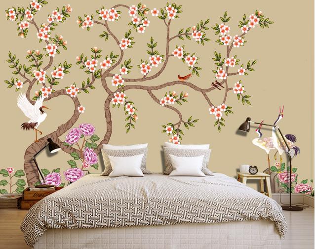 3D Weiß Crane Trees 8 Wall Paper Murals Wall Print Wall Wallpaper Mural AU Kyra