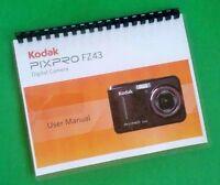 Laser Printed Kodak Pixpro Fz43 Camera 84 Page Owners Manual Guide