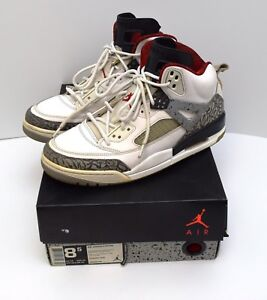 timeless design 7de3b 24bfe Image is loading Jordan-Spizike-White-Cement-Grey-Varsity-Red-315371-
