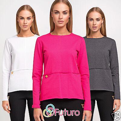 UK New Women/'s Formal Top Crew Neck Short Sleeve Tunic Blouse Sizes 8-12 FA313
