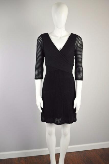AMADI Sz XS $148 Anthropologie Fara Surplice Dress AKA 3/4 Sleeve Lola BLK [8G]