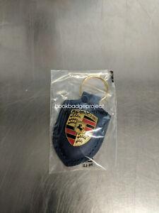 Genuine Porsche BLACK Crest Leather Key Ring Metal Key Fob Key Chain