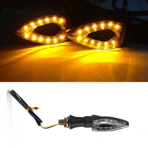 2Pcs Bendable Stem Motorcycle LED Turn Signal Light Indicators Blinker Amber