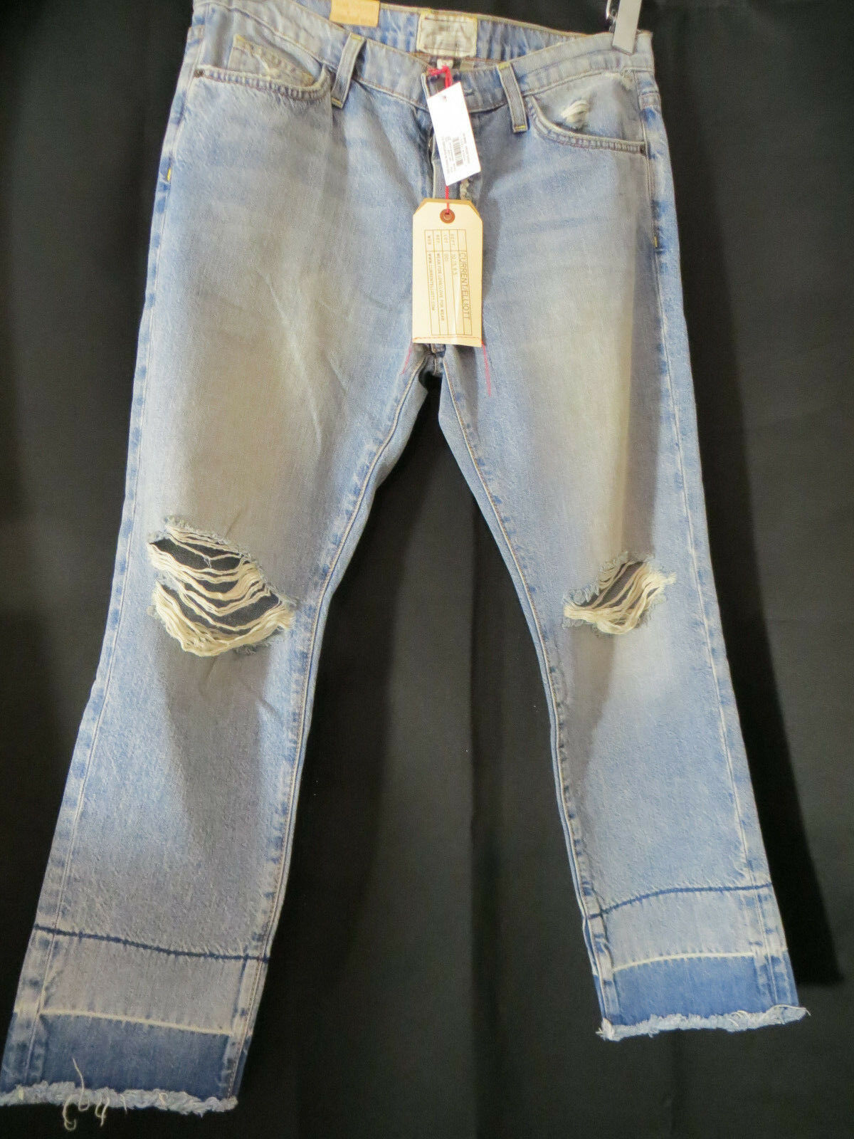 Current Elliott boyfriend jeans Exposed Fly Fling Knife Fight Destroy womens 27