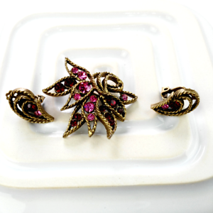 1950s-Brooch-Earrings-Jewellery-Set-Vintage-Pink-Rhinestone-Demi-Parure
