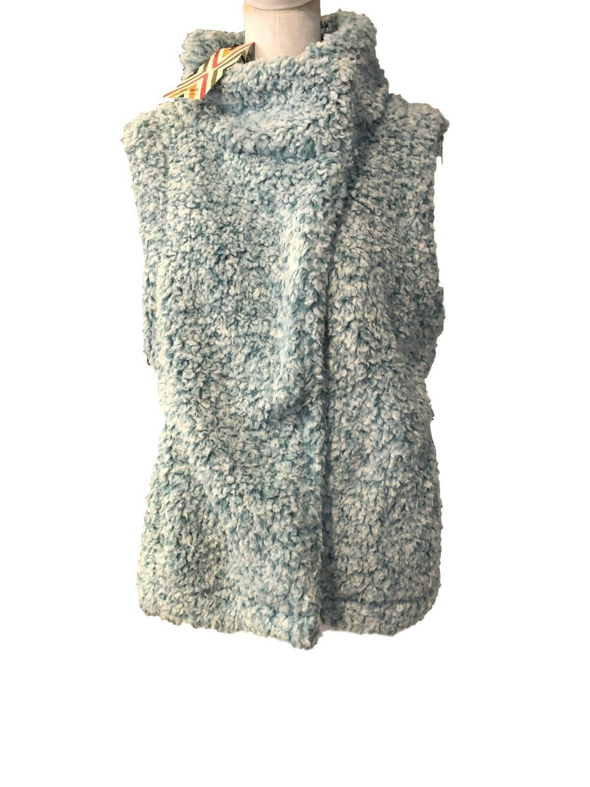 True Grit Dylan Womens Solid Frosty Tip Zip Sweater Vest Aqua L