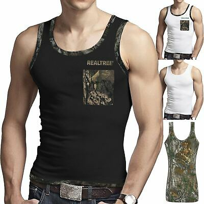 Mens Forest Print Camouflage 2 Tone Muscle Vest Fishing Hunting Tank Top M-XL