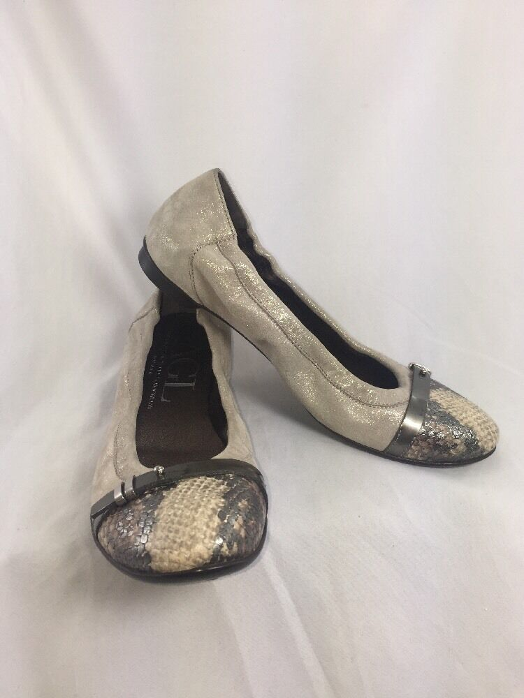 AGL Round Snake Print Taupe Ballet Flats Loafers Slip On Round AGL Toe Size  EUR38 ae4056