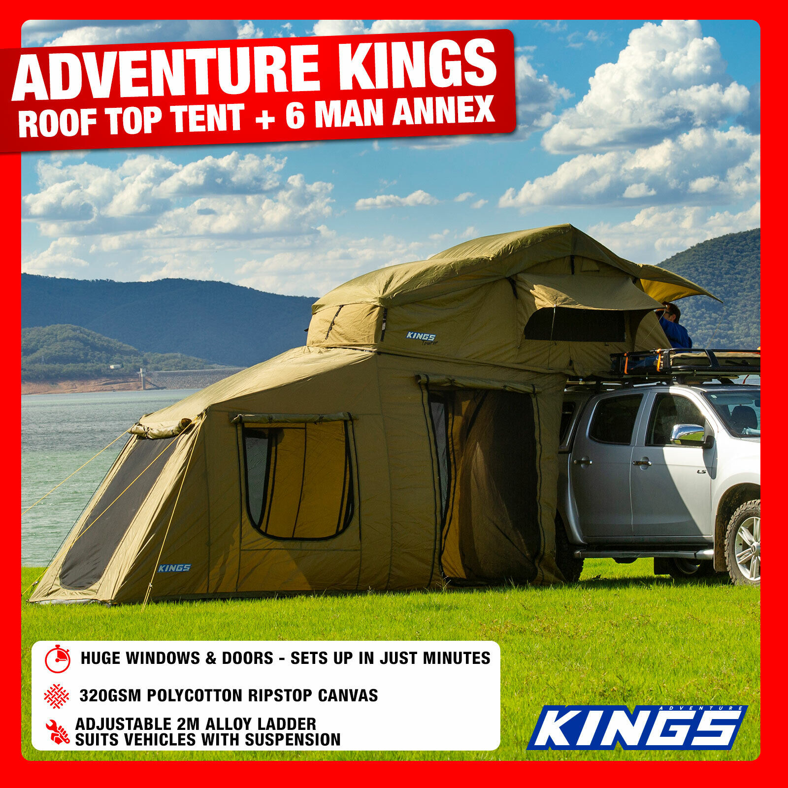 Adventure Kings Roof Top Tent Installation outdoor kings adventure outback roof top tent with 6 man annex camping car
