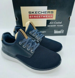 visto ropa Acechar Rey Lear  Skechers Men Streetwear Slip On Sneaker Relaxed Fit Memory Foam Shoe Navy  Black | eBay