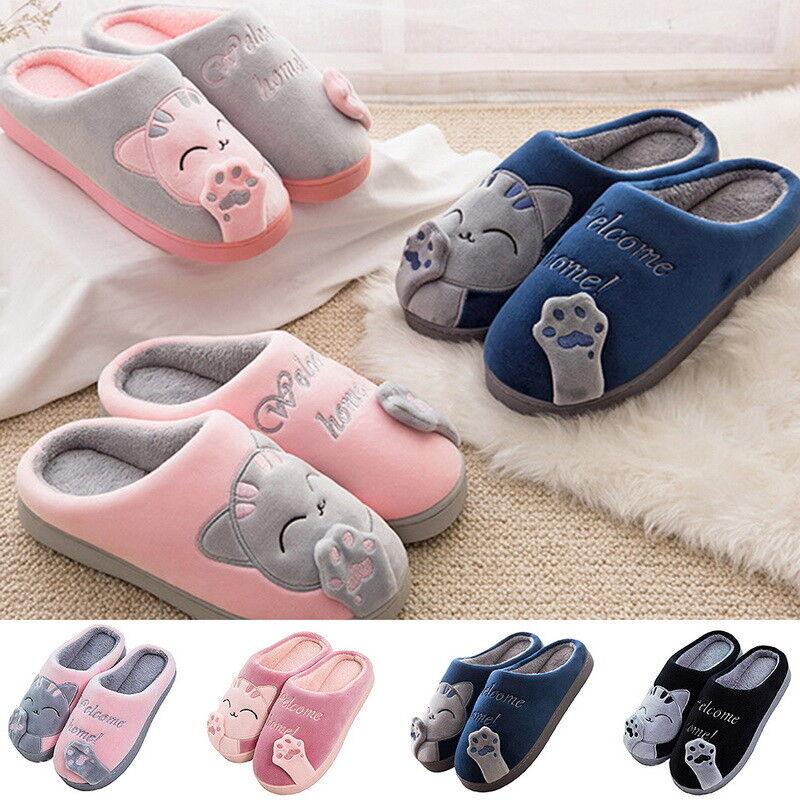 Women Cute Cat Plush Slippers Winter Warm Soft Anti-Slip House Indoor Men Shoes,